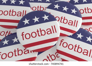 USA Sports Badges: Pile of Football Buttons With US Flag, 3d illustration