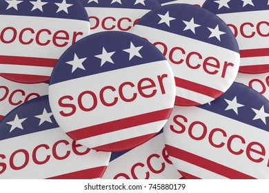 USA Sports Badges: Pile of Soccer Buttons With US Flag, 3d illustration