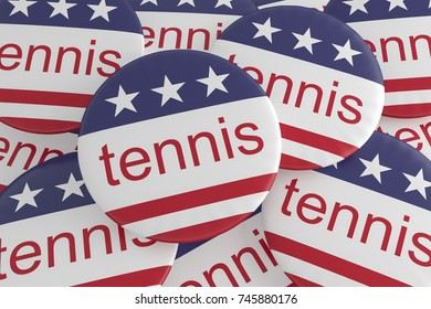 USA Sports Badges: Pile of Tennis Buttons With US Flag, 3d illustration