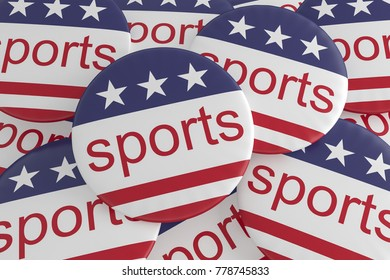 USA Sports Concept: Pile of Sports Buttons With US Flag, 3d illustration
