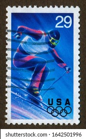 USA stamp - circa 1993: a stamp printed in USA shows Winter Olympics  Slalom.