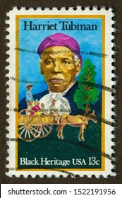USA stamp no circa date: a stamp printed in USA shows black heritage Harriet tubman.
