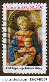 USA stamp no circa date: a stamp printed in USA shows Oil Painting by Fra Lippo Lippi : Christmas (Madonna and Child).