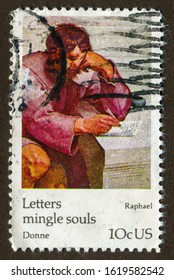 USA stamp no circa date: a stamp printed in USA shows Raphael's oil painting, Letters mingle soul. English poet Expressing John Donne's writing.
