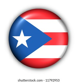 USA States Flag Button Series - Puerto Rico (With Clipping Path)
