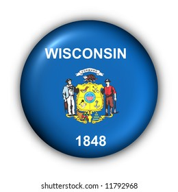USA States Flag Button Series - Wisconsin (With Clipping Path)