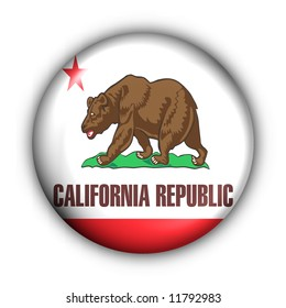 USA States Flag Button Series - California(With Clipping Path)