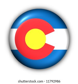 USA States Flag Button Series - Colorado (With Clipping Path)