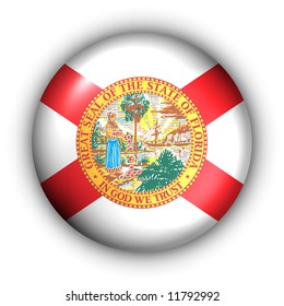 USA States Flag Button Series - Florida (With Clipping Path)