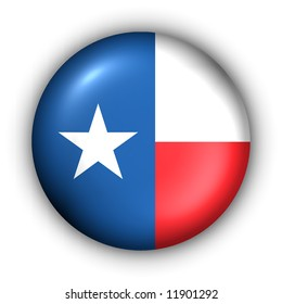 USA States Flag Button Series - Texas (With Clipping Path)