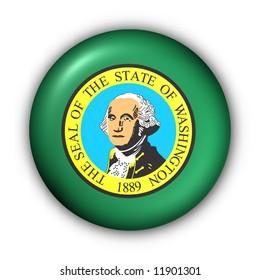 USA States Flag Button Series - Washington (With Clipping Path)