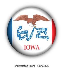 USA States Flag Button Series - Iowa (With Clipping Path)
