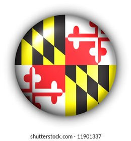 USA States Flag Button Series - Maryland (With Clipping Path)