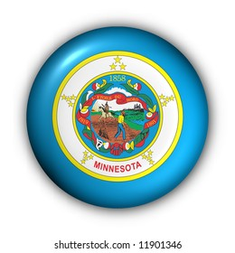 USA States Flag Button Series - Minnesota (With Clipping Path)