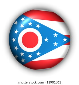 USA States Flag Button Series - Ohio (With Clipping Path)