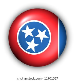 USA States Flag Button Series - Tennessee (With Clipping Path)