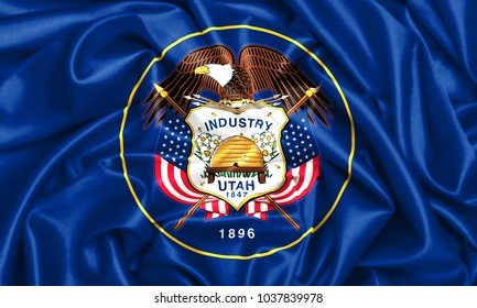 USA states set- 3d waving flag of Utah, silk fabric texture