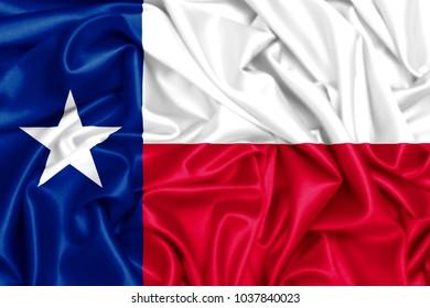 USA states set- 3d waving flag of Texas, silk fabric texture