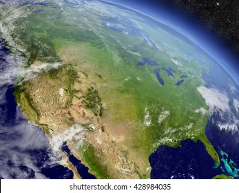 USA with surrounding region as seen from Earth's orbit in space. 3D illustration with highly detailed realistic planet surface and clouds in the atmosphere. Elements of this image furnished by NASA.