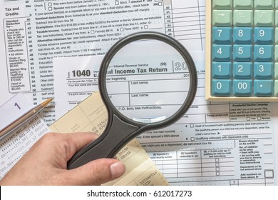 USA tax day and financial literacy month concept with income Tax return and taxation paying preparation document paperwork