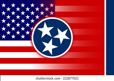 USA and Tennessee State Flag