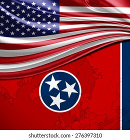 USA and Tennessee State Flag on world map background
