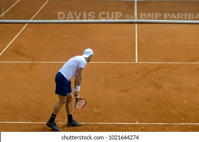USA tennis player, Johnson Steve playing in the match against SERBIA, Davis cup 2018, Nis, Sports center Cair SERBIA vs USA, third day, 04. February 2018
