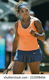 USA tennis player Serena Williams celebrates a point during the Final match of Mutua Madrid Open 2013 clay court ATP World Tour Masters 1000 in Madrid, Spain at Caja Magica Venue on May 12,2013
