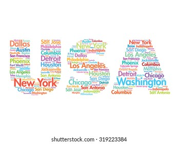 USA travel concept made with words cities names