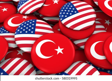 USA and Turkey Badges Background - Pile of American and Turkish Flag Buttons 3D Illustration