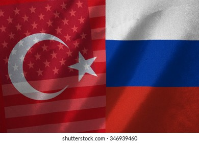 USA , turkey and russia flag on fabric background