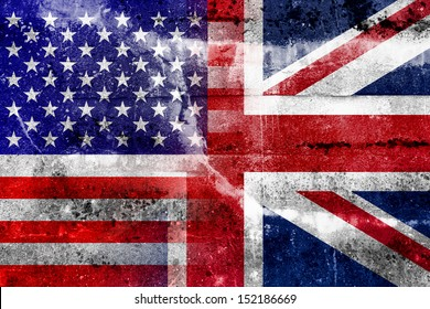 USA and UK Flag painted on grunge wall
