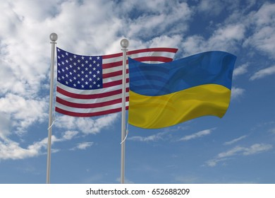 USA and Ukraine flag waving in the sky