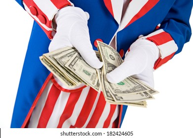 USA: Uncle Sam Counts US Currency