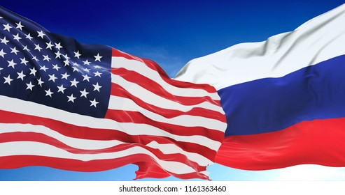 USA United States of America and Russian Federation flags on a blue sky background