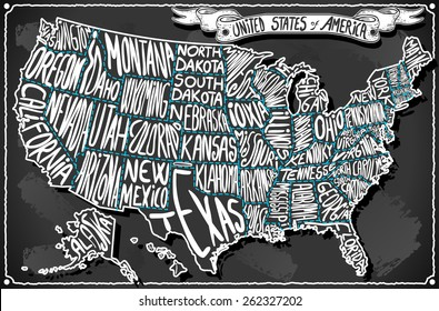 USA United States America Vintage Map on Old Vintage Blackboard. Retro Postcard  Illustration