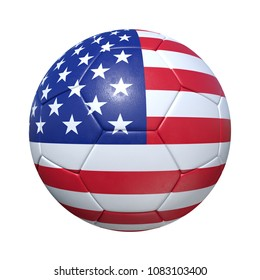 USA United States soccer ball with national flag. Isolated on white background. 3D Rendering, Illustration.