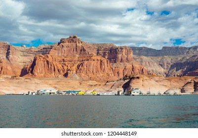 USA, Utah, San Juan County, Glen Canyon National Recreation Area. A floating marina with boat fuel, gas, and basic services in Dangling Rope Canyon on Lake Powell between Wahweep and Bullfrog.