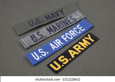 USA veteran concept on olive green uniform background