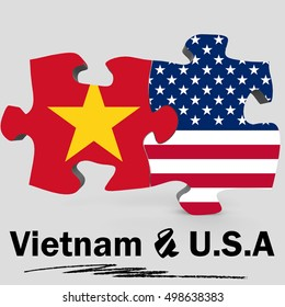 USA and Vietnam Flags in puzzle isolated on white background, 3D rendering