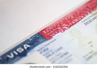 USA visa background. US visa in passport close-up perspective view selective focus.