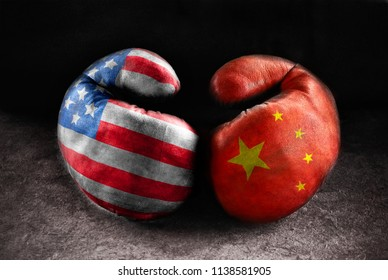 USA vs CHINA. Concept image
