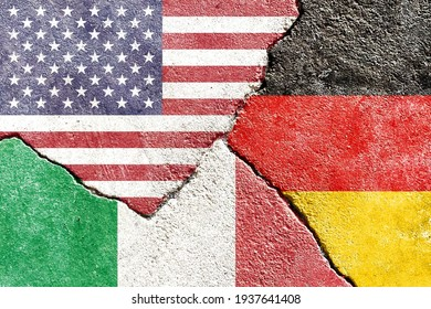 USA VS Germany VS Italy national flags icon on broken weathered wall with cracks, abstract US VS Germany Italy international politics relationship divided conflict pattern texture background wallpaper