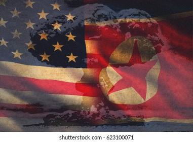 USA vs. North Korea - graphic concept