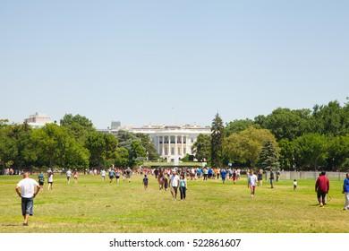 USA. WASHINGTON DC. AUGUST - 28, 2016:  White House Monument Black Smoke House Fire Blue Sky Emergency