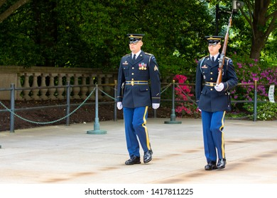 USA. WASHINGTON DC. WASHINGTON. JUNE 2019: Change of the guard near the Unknown Soldier tomb at the Arlington national cemetery.