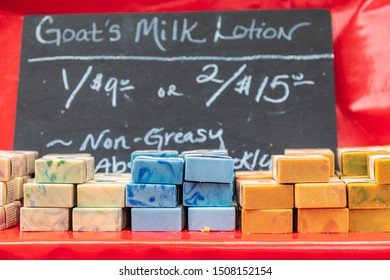 USA, Washington State, Vancouver. Hand made artisanal soap for sale at a farmers market.