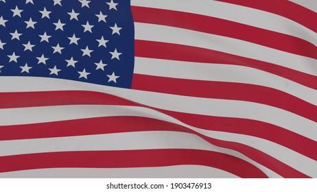 USA Wavin Flag Close Up Wallpaper 3D Render Flag Blender United State Stripe