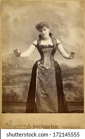 USA - WEST VIRGINIA - CIRCA 1885 A vintage photo of actress Annie Louise Nugent Jacques a widely-known theatrical woman. Her stage name is Annie Louise Ames. A photo from the Victorian era. CIRCA 1885
