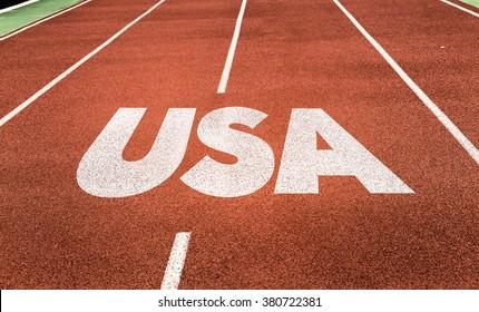 USA written on running track